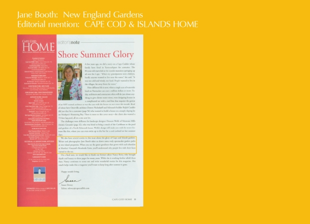 Susan Dewy, editor of Cape Cod Home, gives a nice mention to Jane Booth, garden writer and photographer.