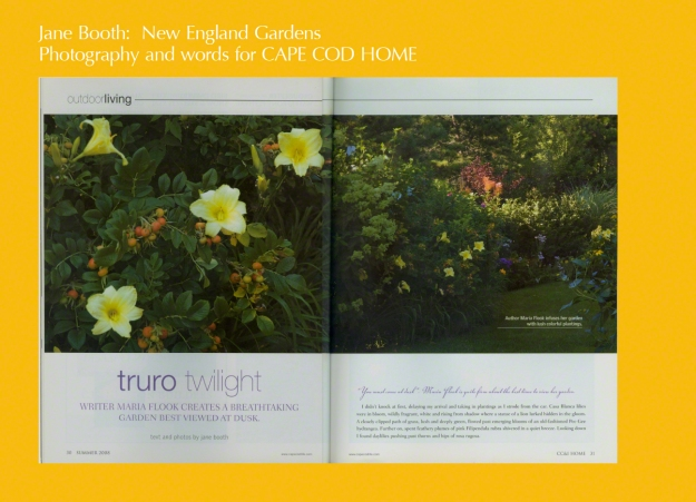 """You must come at dusk"", was Truro author Maria Flook's invitation to her garden.   I didn't knock at first, delaying my arrival and taking in plantings as I strode from the car.  Casa Blanca lilies were in bloom, wildly fragrant, white and rising from ado where a statue of a lion lurked hidden in the gloom."